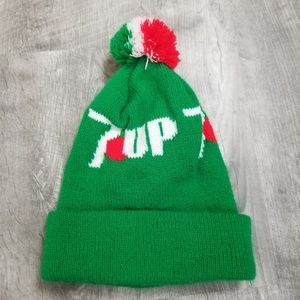 Vintage 7 up puff ball winter hat. Unisex.